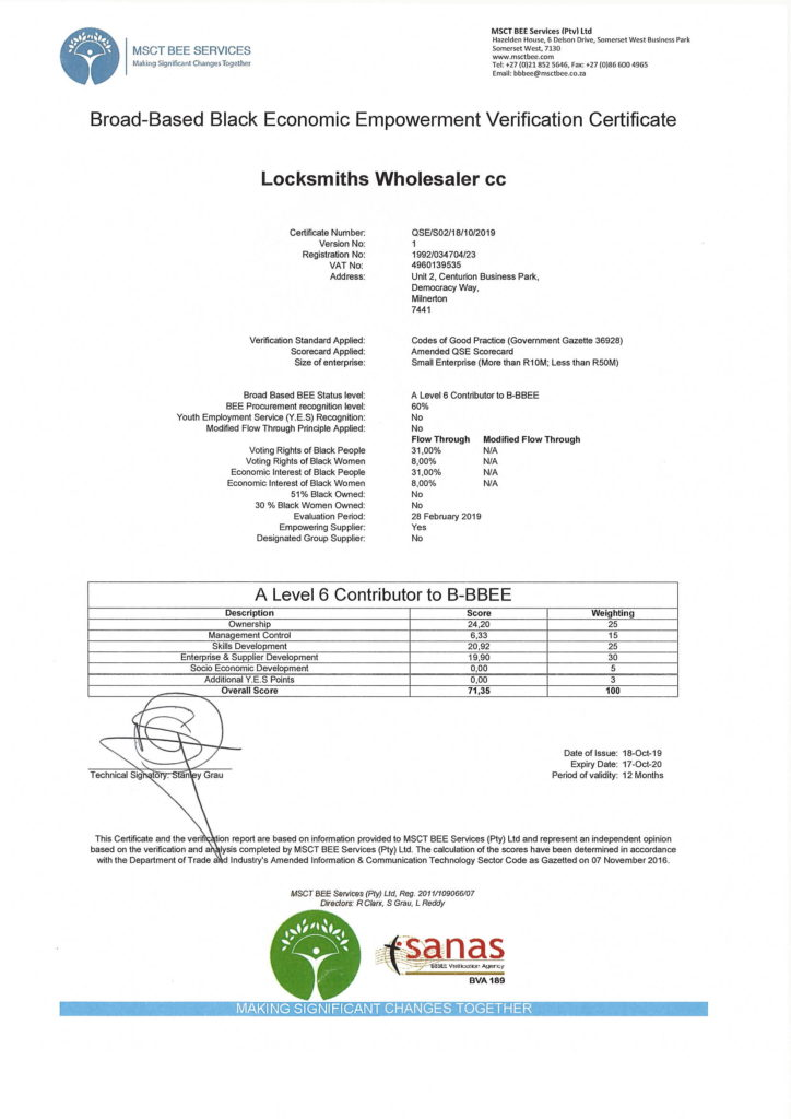 LWS BBBEE Certificate 2020